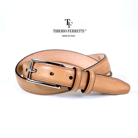 TIBERIO FERRETTI/ティベリオフェレッティ ベルト 上質カーフレザー(9839)25mm スパッツォラートモデル ベージュ 9839-beige