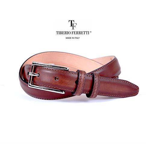 【在庫一点セールアイテム】TIBERIO FERRETTI/ティベリオフェレッティ ベルト 上質カーフレザー(9839)25mm スパッツォラートモデル ブラウン 9839-brown