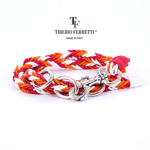 【在庫一点セール】TIBERIO FERRETTI ティベリオフェレッティ officina TIBERIO FERRETTI コットンロープ フック式ベルト 9872 (ホワイトxオレンジxレッド)