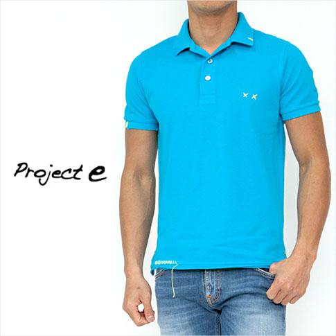 【WINTER SALE】プロジェクトe Project e 鹿の子 ポロシャツ 半袖 スカイブルー SLIM FITモデル ms-peecock