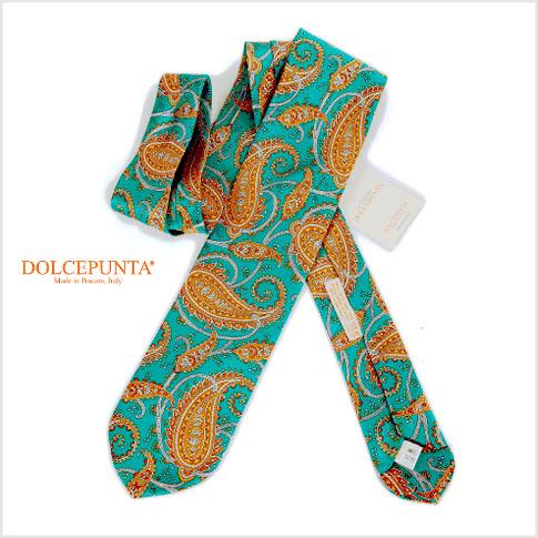 DOLCEPUNTA / ドルチェプンタ グリーン ペイズリープリント ハンドメイドネクタイ ハート型剣先 Cravatta Dolcepunta p1518-4