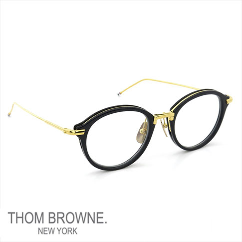 【数量限定 再入荷】トムブラウン メガネ THOM BROWNE. NEW YORK EYEWEAR(トムブラウン ニューヨーク)トムブラウン 眼鏡 [TB-011F 49size NAVY SHINY 18K GOLD METAL BRIDGE&TEMPLES] TB-011-F-NVY-GLD-49