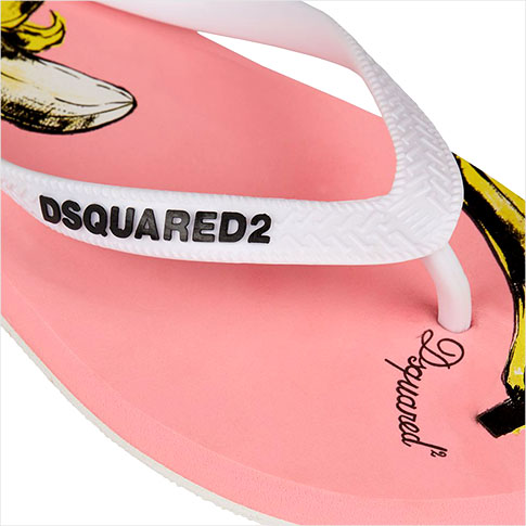 Dsquared DSQUARED2 banana pattern print Beach Sandals (Pink & White) DSQUARED2 logo with beach bag with 52 P08Apr16