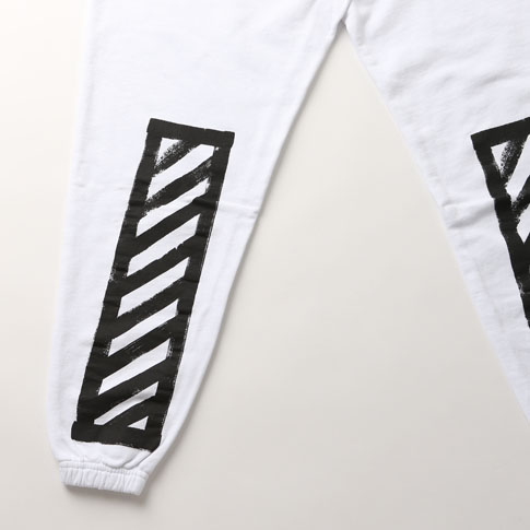 off white off-white diagonal stripes print sweatpants white OFF-WHITE BRUSHED DIAGONALS PANTS WHITE 008F160030260110