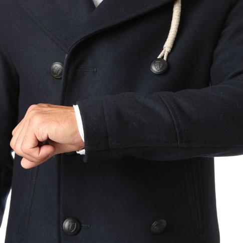 Camplin peacoat special fabric heavy Melton wool (WOOL RAIN) pea coat Navy CP624001-80