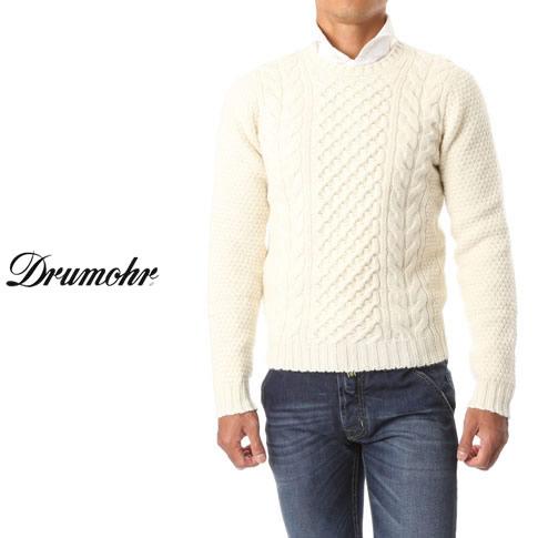 ドルモア / DRUMOHR ドルモア ニット ケーブル編み クルーネック スーパージーロン ラムズウール ホワイト d4w123-120