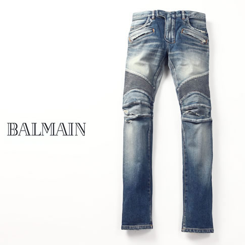 BALMAIN Balmain by car denim Detroit denim washed / damage process blue jeans 155 BLUE BALMAIN DESTROYED BIKER JEANS pyoht551c710v155