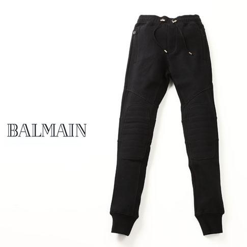 【秋冬OUTLET】BALMAIN BIKER PANT バルマン バイカースエットパンツ ブラック BALMAIN CALECON MATELASSE+PIPING HOMME PANTS W6HJ513D323 176 NOIR/BLACK