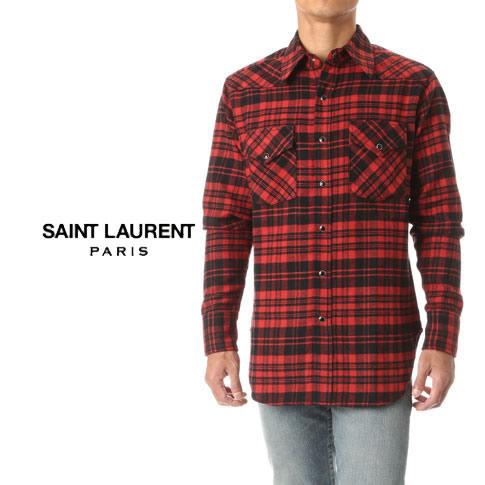 【秋冬OUTLET】サンローラン SAINT LAURENT PARIS オーバーサイズ チェックシャツ(BLACK/RED)ブラック/レッド ネルシャツ HEDI SLIMANE エディスリマン 442379-y967m-6461