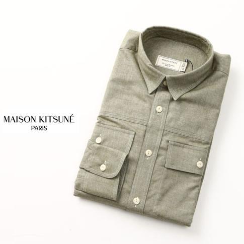【秋冬OUTLET】MAISON KITSUNE メゾンキツネ ネルシャツ FLANNEL MILITARY SHIRTカーキ fw16m002