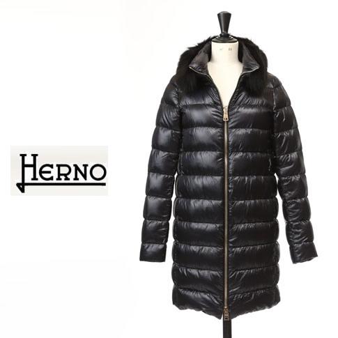 【秋冬OUTLET】HERNO / ヘルノ レディース ロング ダウンジャケット フォックスファー ロングダウンコート ブラック PI0486D-12017-9300
