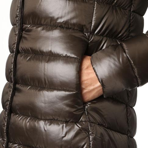 HERNO/ヘルノ 여성 다운 자 켓 A 라인 세미 롱 다운 코트 모카 브라운 PI0505D-12017-8951