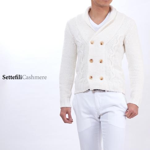 【2020半期決算セール】Settefili Cashmere セッテフィーリカシミア カーディガン カシミア ホワイト 1007dp-ar08