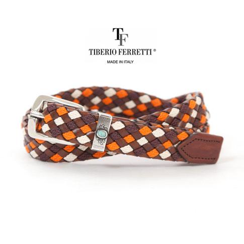 TIBERIO FERRETTI ティベリオフェレッティ スリーカラーイントレチャート レザーxコットン 袋メッシュベルト ブラウン 1139-brown