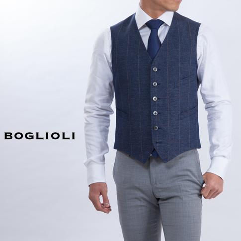BOGLIOLI Bolioli Gillet DOVER Dover single Gillet wind pen cotton & linen Navy 222-71602-79 P08Apr16