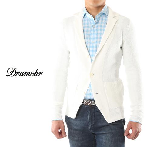 ドルモア / DRUMOHR ドルモア ハニカムニットジャケット リネン&ストレッチ ホワイト ow/d8l453-5-110