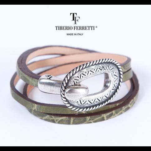 【全品送料無料】【在庫一点セール】TIBERIO FERRETTI ティベリオフェレッティ 本クロコバックル付ブレスレット t-brace-olive