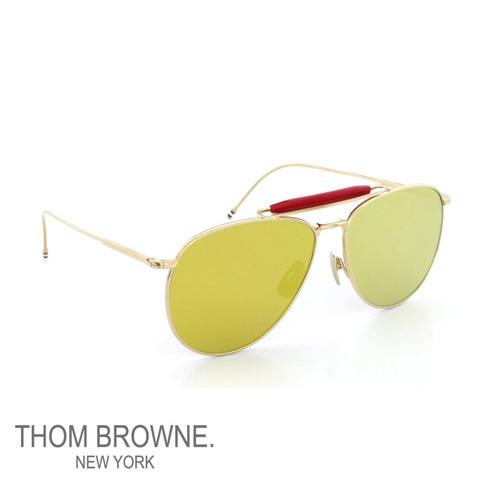 【全品送料無料】【超人気モデル限定予約受付】トムブラウン メガネ THOM BROWNE サングラス Dark-Brown-Gold-Mirror フラットレンズ EYEWEAR tb-015-ltd-gld