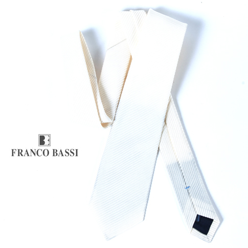 FRANCO BASSI フランコバッシ ネクタイ ビアンコ(ホワイト)ソリッド ジャガード イタリア製