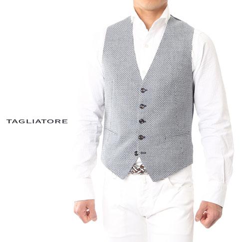 【在庫一点セール】タリアトーレ / TAGLIATORE【タリアトーレ ジレ】【TAGLIATORE ジレ】BRIAN ウール&リネン 織り柄 ライトグレーベース ネイビーxブルー 12ueg215-i3329