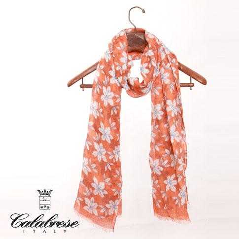 CALABRESE / カラブレーゼ 大判リネンストール フラワープリント オレンジ 4700010-16