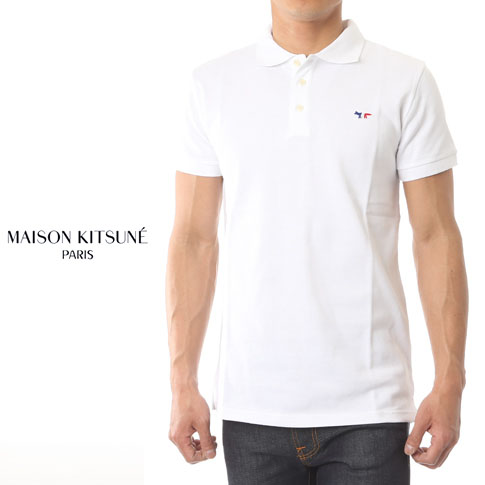 0077273d MAISON KITSUNE maison fox fawn short sleeves polo shirt TRICOLOR PATCH POLO  white am00200-at1506-wh [2018 new works in the spring and summer]