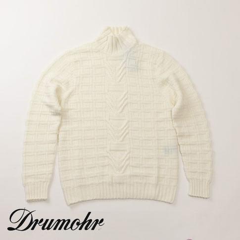 【スーパーバリュー】ドルモア / DRUMOHR モックネック ニット ウール100% ホワイト d5m134-125
