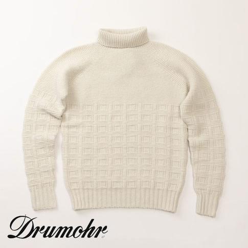 【在庫一点セール】【秋冬OUTLET】ドルモア / DRUMOHR セーター タートルネック ニット ウール100% ホワイト d5w104b-120