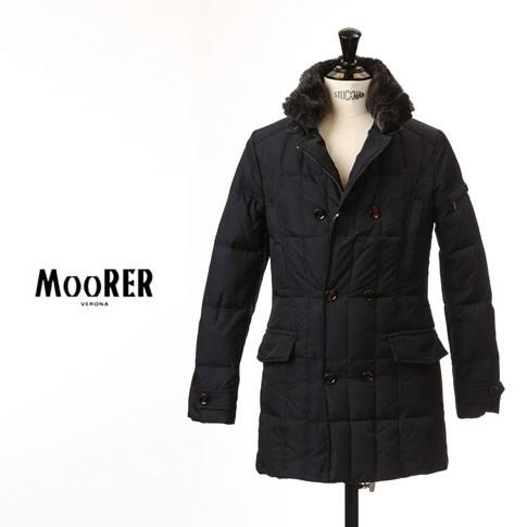 【2020半期決算セール】MOORER MORRIS / ムーレー メンズ ダブルブレスト セミロングダウンジャケット MORRIS KM2 モーリス BLU / ネイビー