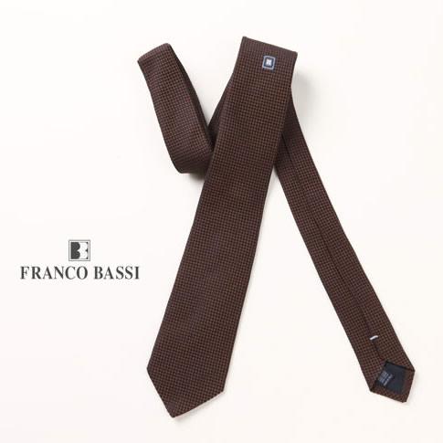 FRANCO BASSI / フランコバッシ ネクタイ シルク100%ジャガード ワンポイント柄 ブラウン u16i-j11-1