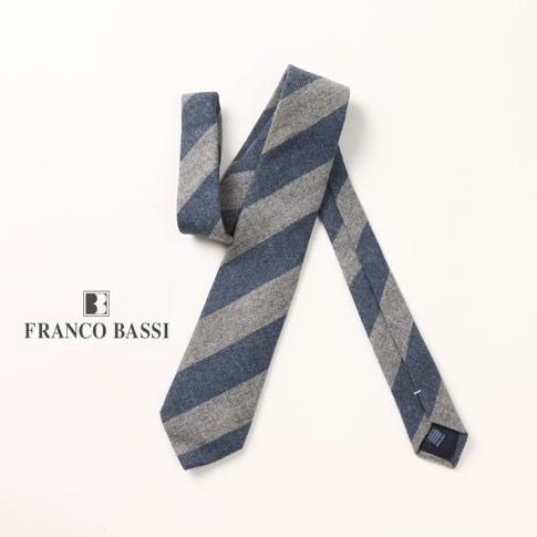 FRANCO BASSI / フランコバッシ ネクタイ カシミア100% ストライプ グレー ネイビー u16i-m08-6