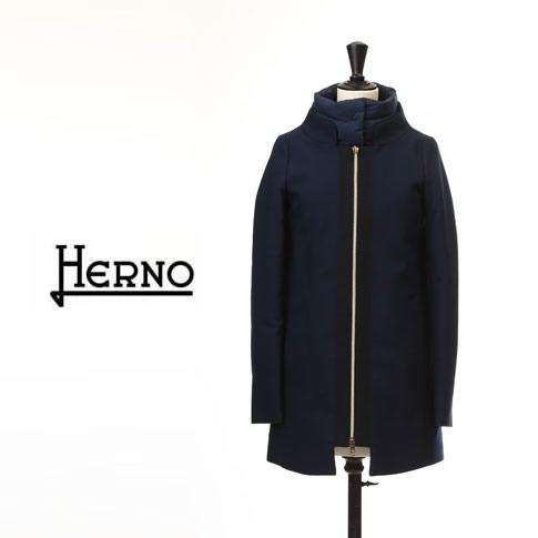 【秋冬OUTLET】HERNO ヘルノ レディース ダウンコート ウール&ダウン コンビネーション ハーフコート ネイビー GC0151D-9240