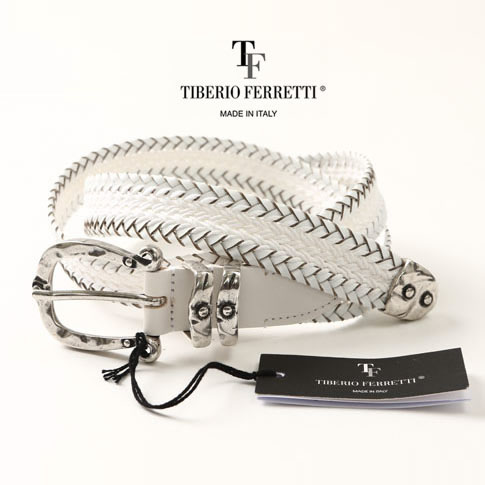 TIBERIO FERRETTI/ティベリオフェレッティ ベルト レザーコットン メッシュベルト 9018ホワイト