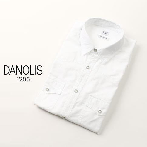 【2020半期決算セール】DANOLIS/ダノリス コレクション スペシャルウォッシュド加工 ウエスタンデザイン 長袖シャツ ホワイト A479-3246-624 ウエスタンシャツ
