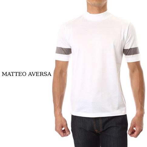 MATTEO AVERSA マッテオアヴェルサ シルキーコットン Tシャツ ハイネック 上質カットソー ホワイトxグレー ma713007-17