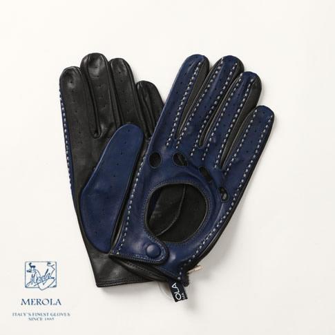 MEROLA / メローラ ラムナッパ ドライビンググローブ ハンドメイド手袋 Amalfi別注モデル コバルトブルーxダークグレー ME719002-89