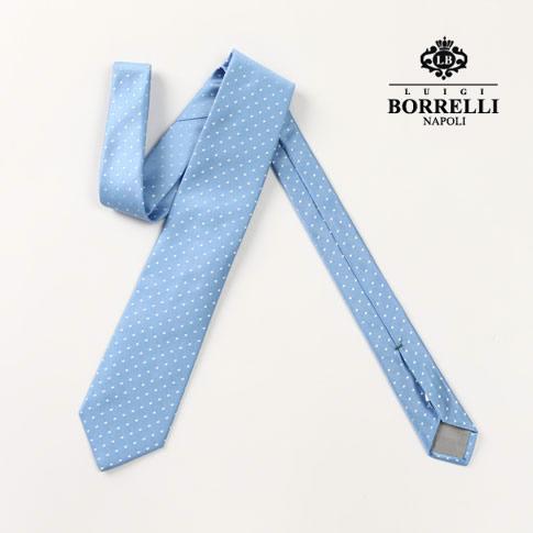 Luigi Borrelli ルイジ ボレッリ ネクタイ シルク100% ブルー×ホワイト ドット