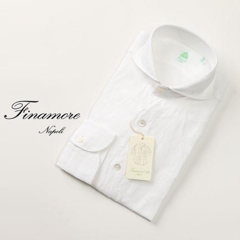 フィナモレ セルジオ リネン シャツ / Finamore SERGIO フィナモレ シャツ カッタウェイ スリムフィット(GENOVA)定番人気 ショート丈(着丈-3.0cm~-5.0cm) ホワイト sergio-010608-13