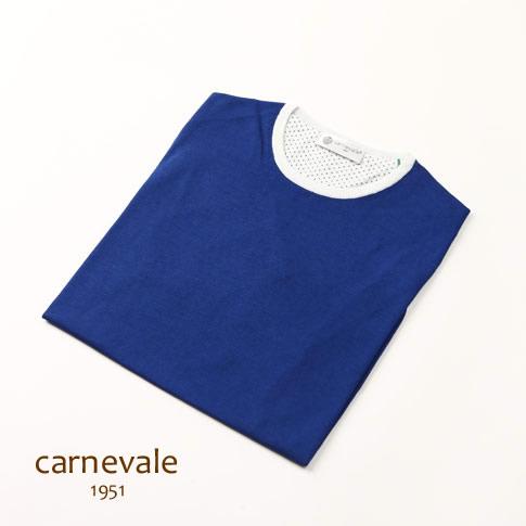 CARNEVALE カルネヴァーレ 半袖 Tシャツ ブルー×ホワイト コットン シルク ca713015-81