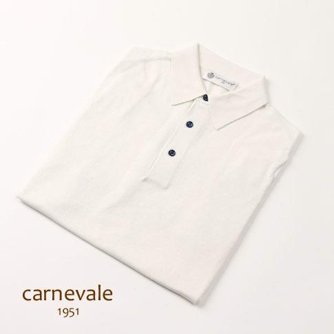 【2020半期決算セール】CARNEVALE カルネヴァーレ ポロシャツ ホワイト コットン シルク ca713016-01