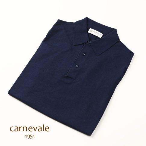 CARNEVALE カルネヴァーレ ポロシャツ ネイビー コットン シルク ca713016-80