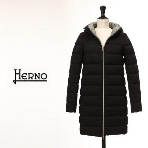 【秋冬OUTLET】HERNO ヘルノ レディース ダウンコート フード付き リバーシブル ダウンコート ブラック x グレー amalfipi0531d-9300