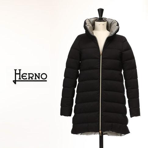 【秋冬OUTLET】HERNO ヘルノ レディース ダウンコート Iライン ダウンコート リバーシブル ブラック x グレー amalfipi0545d-9300