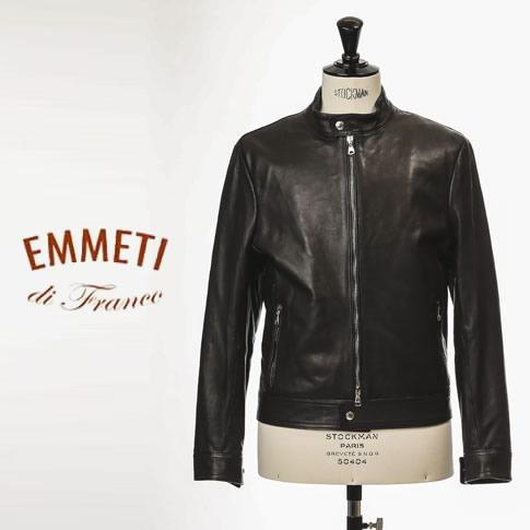 【2020-21新作 数量限定 先行販売】EMMETI エンメティ ANDREA シングル ライダースレザージャケット メンズ ナッパレザー nero ブラック
