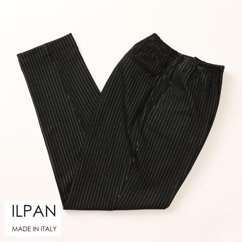 ILPAN イルパン メンズ 1プリーツテーパードジャージーPT ブラック ストライプ bari-manerbio-4