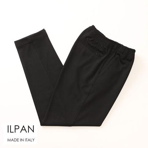 ILPAN イルパン メンズ 1プリーツテーパードジャージーPT ブラック bari-priapo-803