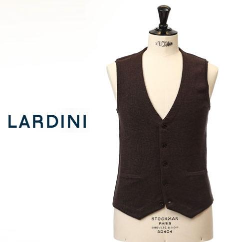【新作30%OFF】LARDINI ラルディーニ ジレ シングル ウール ニットベスト シングル ベスト ブラウンメランジ lgsm40-51045-450