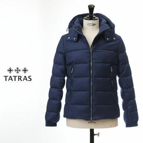 【TATRAS ダウン メンズ】タトラス TATRAS ダウンジャケット DOMIZIANO Rライン Super150'Sウール&シルク ネイビー mta19a4289-79
