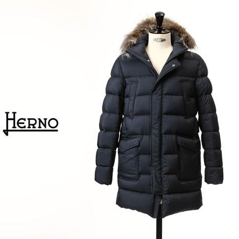 【価格見直しました】HERNO / ヘルノ メンズ ダウンジャケット フォックスファー フーデッド ダウンジャケット ネイビー LEGEND Il Parka pi003ule-9225
