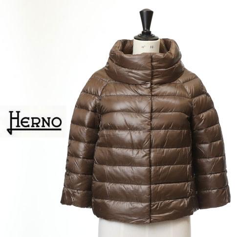 HERNO / ヘルノ レディース ダウンジャケット ボトルネック 七分袖ショートダウンジャケット ブラウン PI0046DIC-12017-2700
